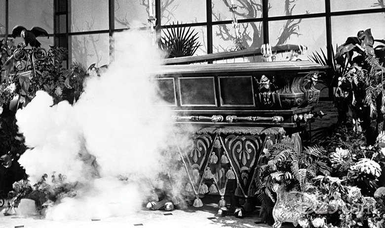 Conservatory coffin scene from the Haunted Mansion