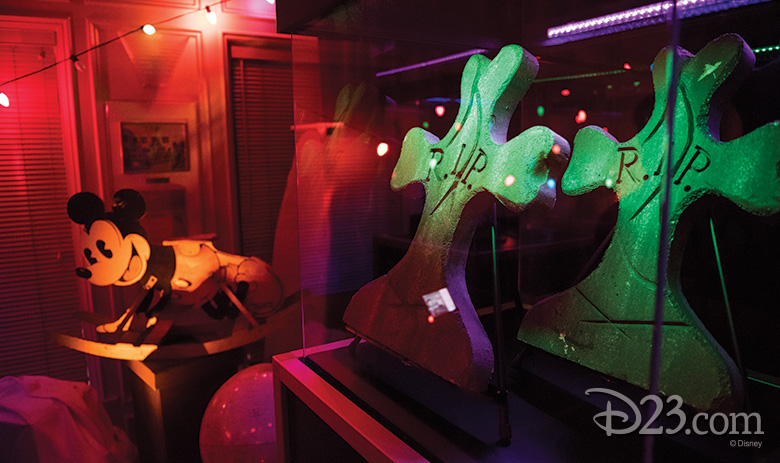 Mickey Mouse rocker and Tombstones from Frankenweenie (1984)