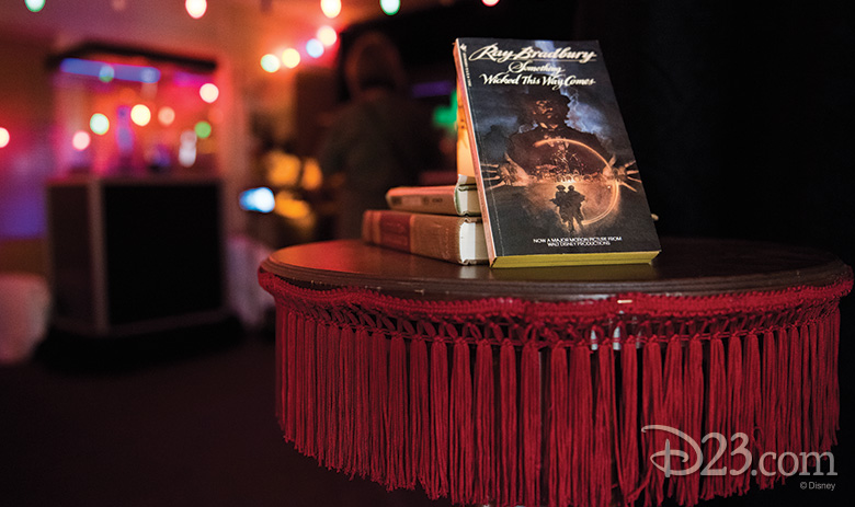 Magician's table from The Prestige (2006) with the book, Something Wicked This Way Comes