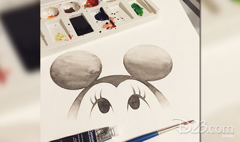 Eric's watercolor of Minnie Mouse