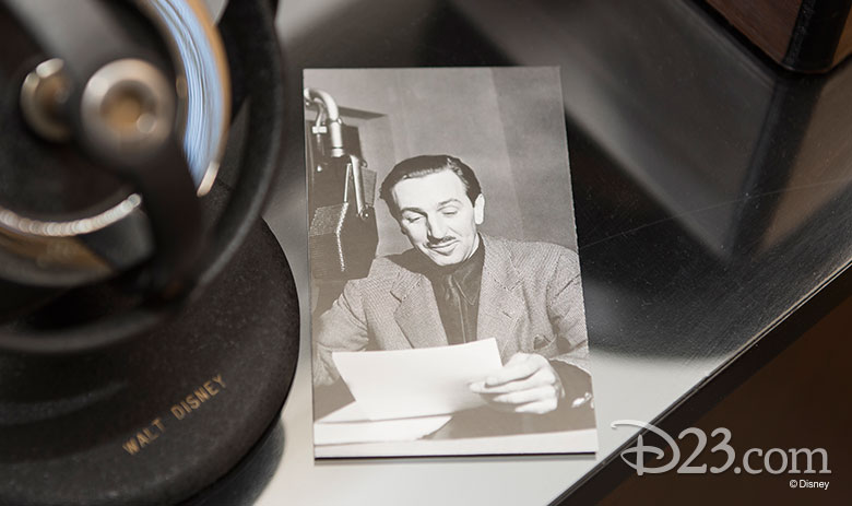 D23 Member gift item. Picture of Walt speaking into a microphone