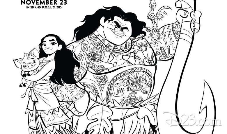 Moana and Maui coloring page