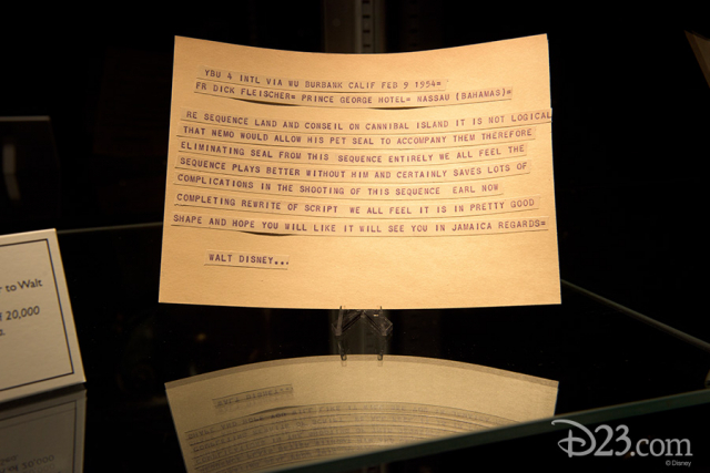Telegram from Richard Fleischer to Walt Disney (facsimile) sent during the production of 20,000 Leagues Under the Sea, Nassau, 1954