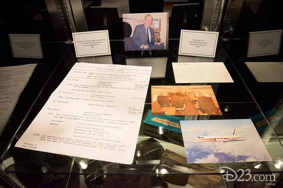 (left) Burbank to Orlando flight log (facsimile) from Walt Disney Productions' Grumman Gulfstream I, 1965. (right) Postcards from Walt Disney Productions' Gumman Gulfstream I, 1964