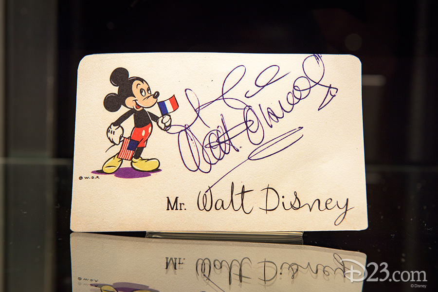 Dinner name card (facsimile) signed by Walt Disney, Paris 1949