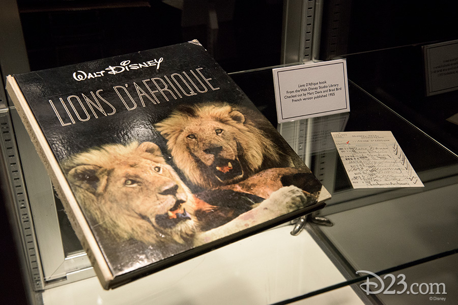 Lions D'Afrique book from the Walt Disney Studio Library checked out by Marc Davis and Brad Bird, French version published 1955