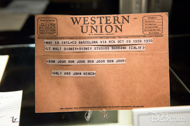 Telegram (facsimile) from Salvador Dali and John Hench to Walt Disney, Barcelona, 1950