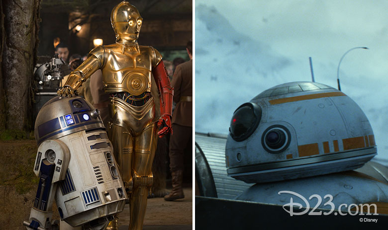R2-D2, C-3PO, and BB-8