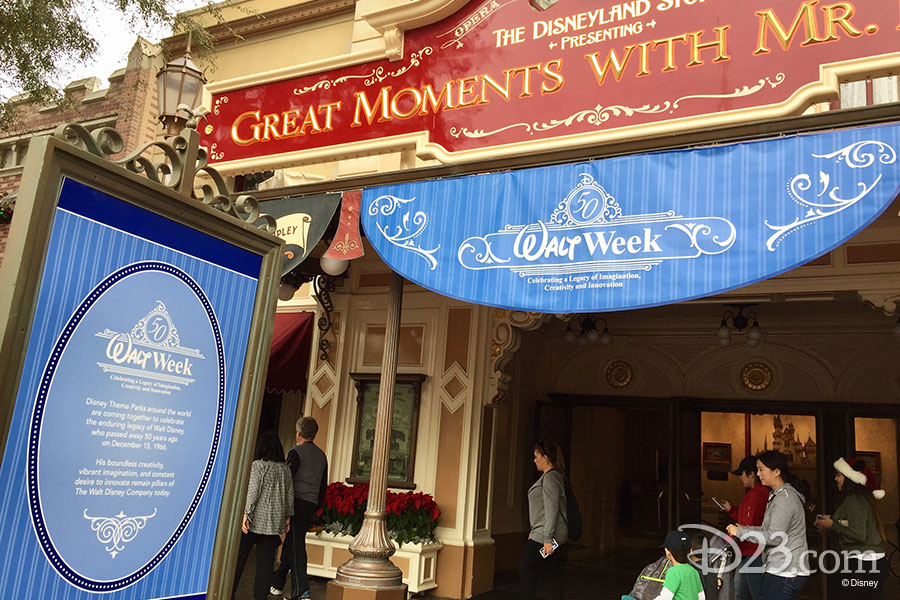 Walt Week signage outside Great Moments with Mr. Lincoln at Disneyland.