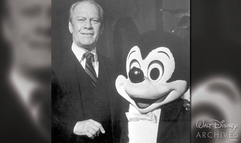 President Gerald Ford with Mickey Mouse