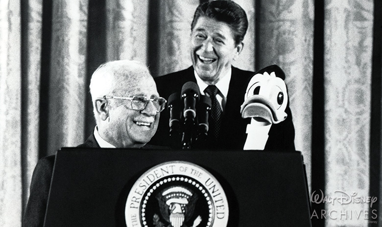 Clarence Nash and President Ronald Reagan