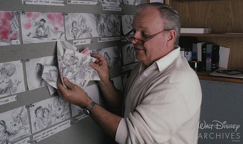 Burny Mattinson with Aladdin storyboards
