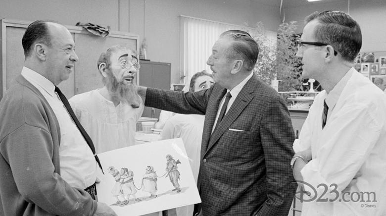 Walt Disney with Marc Davis and Blaine Gibson
