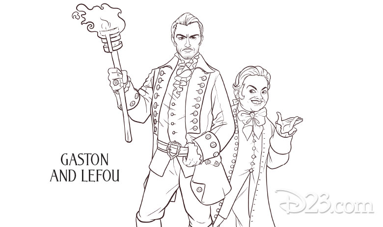 Beauty and the Beast coloring pages - Gaston and Lefou