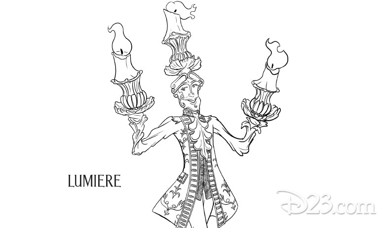 Beauty and the Beast coloring pages - Lumiere