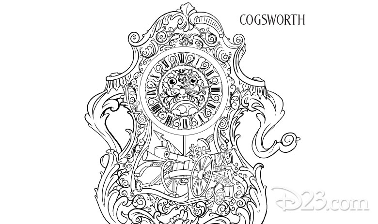 Beauty and the Beast coloring pages - Cogsworth