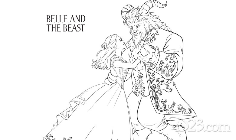 Beauty and the Beast coloring pages - Belle and the Beast