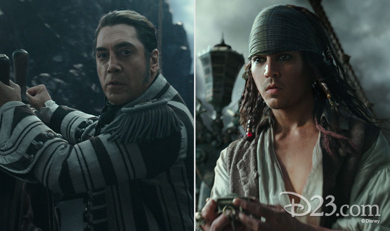 Captain Salazar and Captain Jack Sparrow from Pirates of the Caribbean: Dead Men Tell No Tales