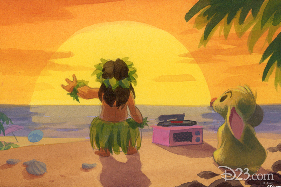 Lilo & Stitch Production Art - Lilo hula dancing on the beach while Stitch looks at the ocean.