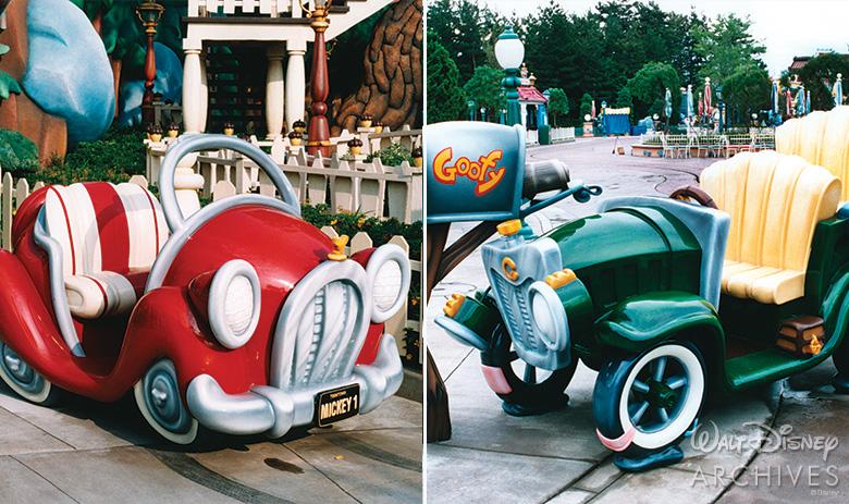 Mickey's car and Goofy's car