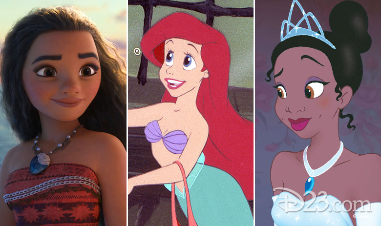 Moana, Ariel, and Tiana
