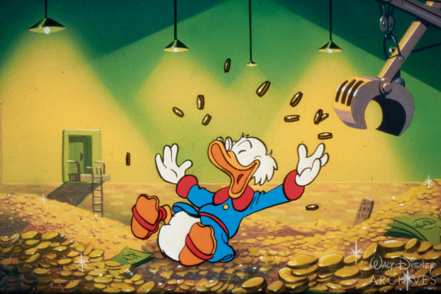 Scrooge McDuck rolls in money