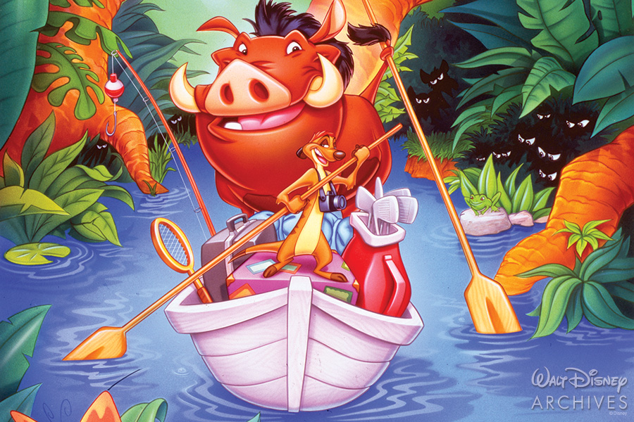 Timon and Pumba on a small boat