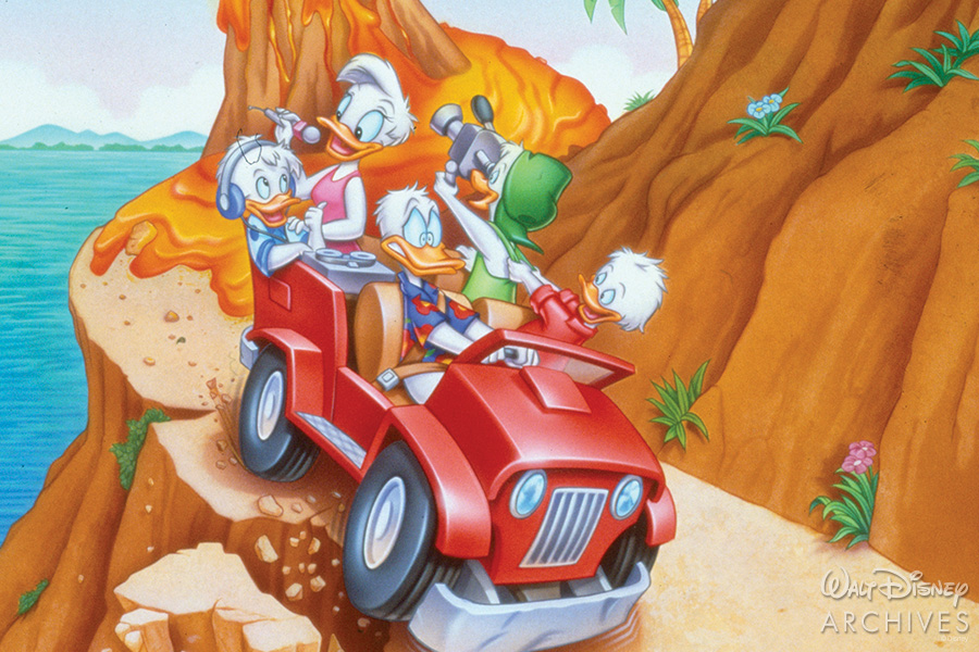 Donald, Huey, Dewey, Louie, and Daisy driving in a jeep.