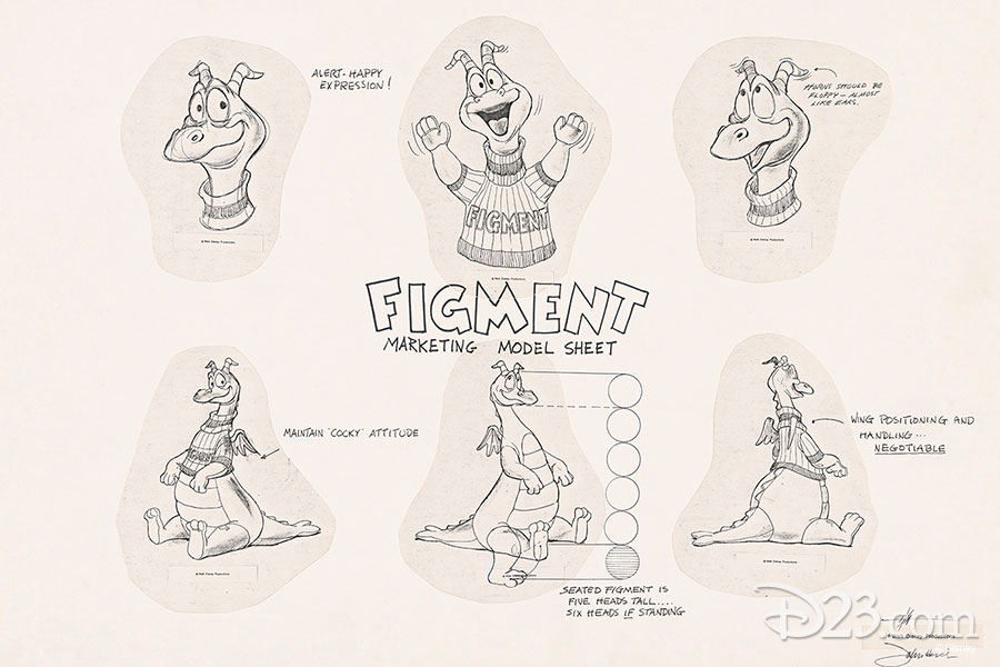 Model Sheet of Figment. Artist: X Atencio (1981)