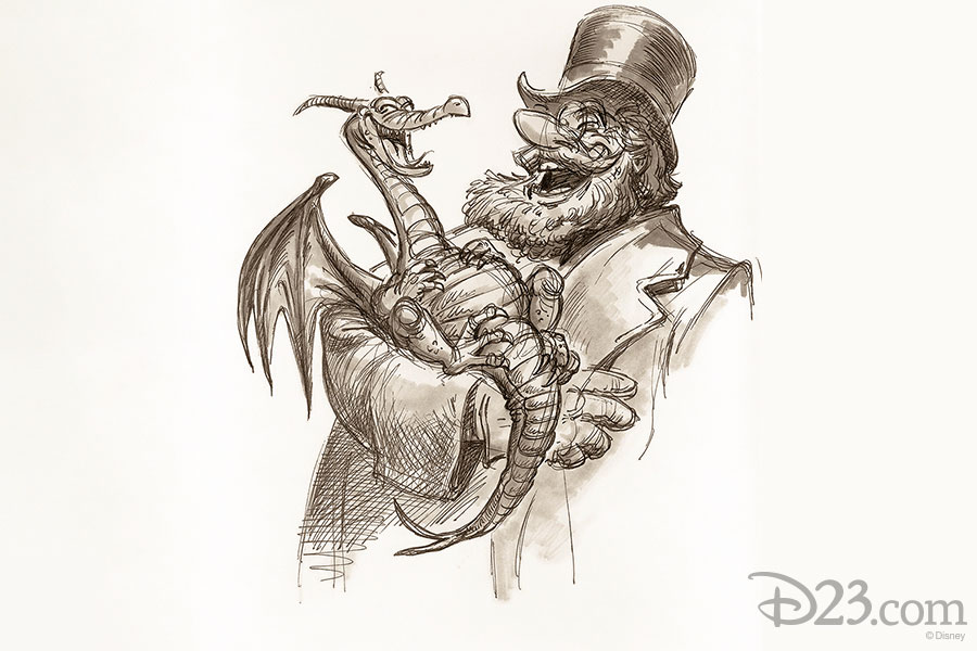 Dreamfinder and Figment concept art. Artist: Andrew Gaskill (1979)