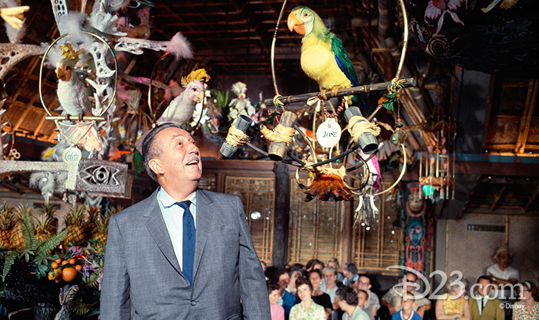 Walt Disney with Jose inside the Enchanted Tiki Room
