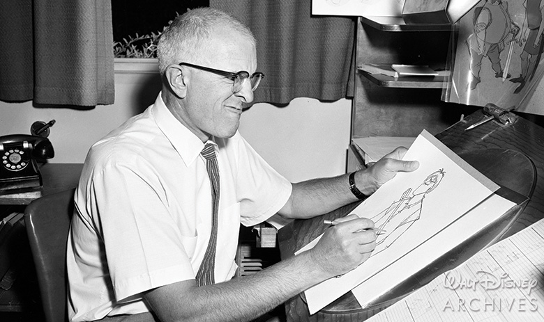 Milt Kahl working on The Sword in the Stone