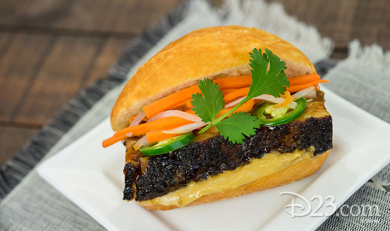 Disney California Adventure Food & Wine Festival 2019 Black Garlic Soy-braised Pork Belly Banh Mi