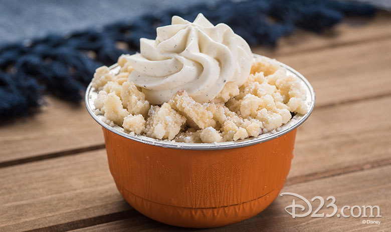 Disney California Adventure Food & Wine Festival 2019 Blue Diamond Almond Cake with Butter Streusel, Apricot Compote, and Brown Sugar Crème Fraîche