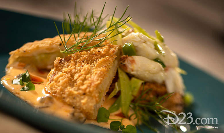 Fried Green Tomatoes with Blue Crab-Fennel Salad, Remoulade, and Smoked Paprika Oil