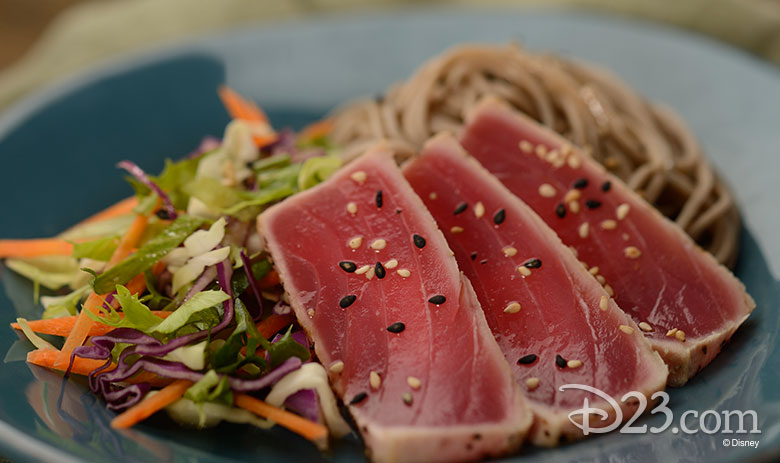 Chilled Soba Noodle Salad with Pan-seared Tuna and Wasabi Dressing