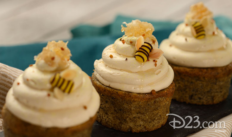 Earl Grey Tea Cake with Orange-Honey Filling topped with Honeybell Tangelo Buttercream, Honeycomb, and Bee Pollen