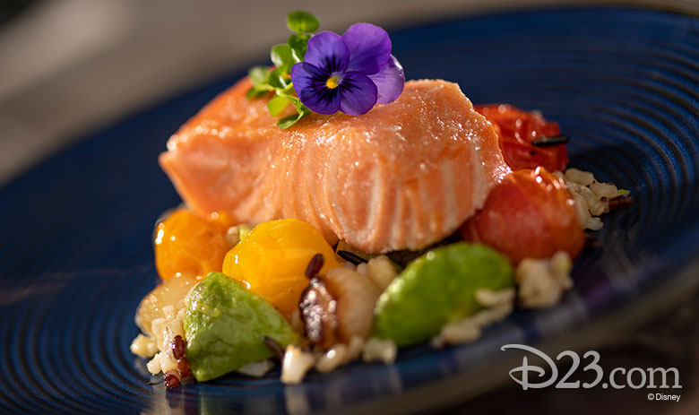 Citrus-poached Salmon with Ancient Grain Salad, Roasted Vegetables, and Citrus Greens