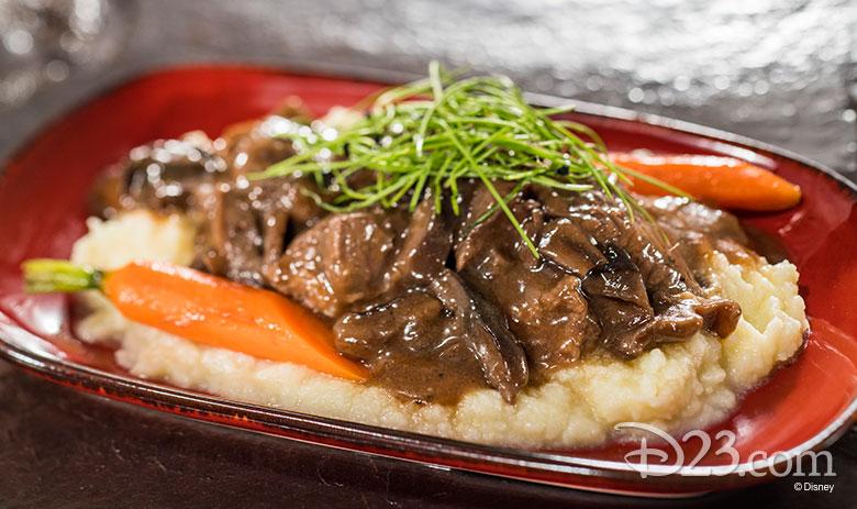 Beef Tenderloin Tips, Mushroom Bordelaise Sauce, and Whipped Potatoes with Garden Vegetables