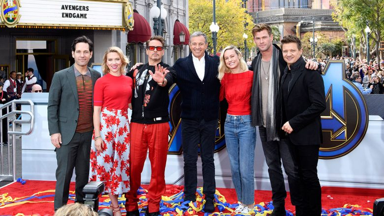 Avengers and Bob Iger at DCA