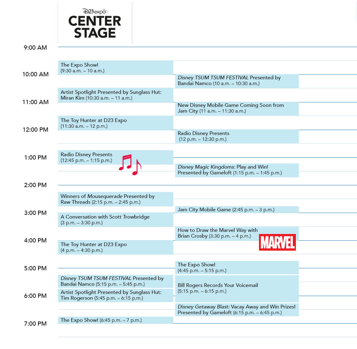 D23 Expo 2019 Center Stage Friday schedule