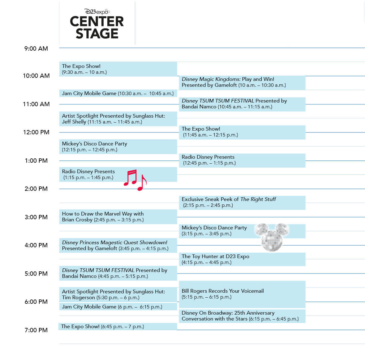 D23 Expo 2019 Center Stage Saturday schedule
