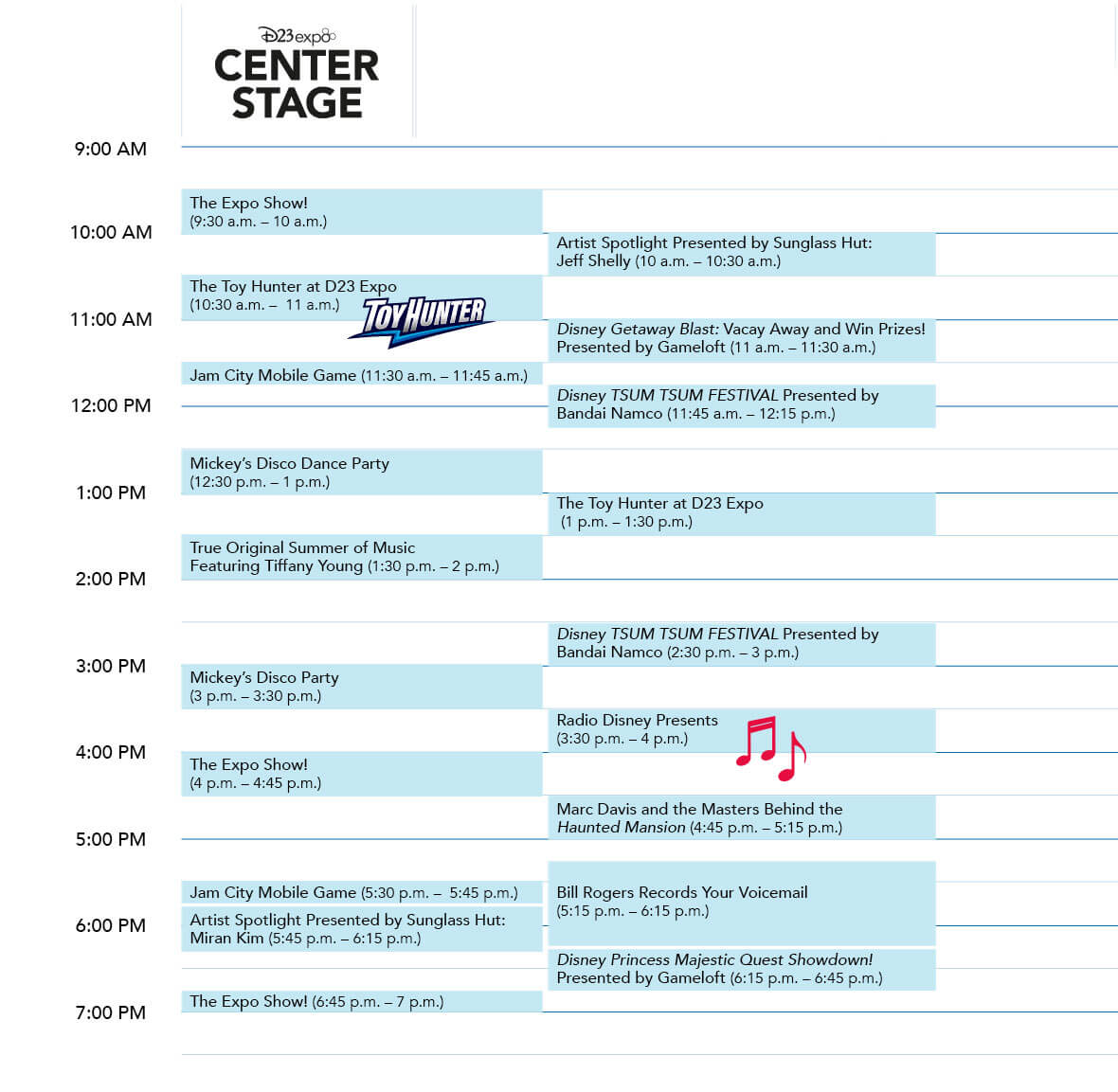 D23 Expo 2019 Center Stage Sunday schedule
