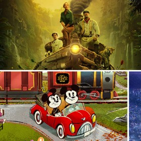 jungle cruise, magic happens float, mickey and minnie's railway, and onward