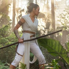 Daisy Ridley as Rey in the forest