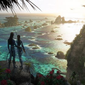 avatar 2 concept art of jake and neytiri looking over the see