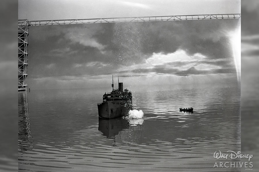 Behind the scenes photograph from Lifeboat (1944).