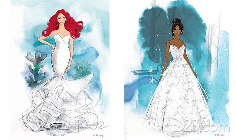 Ariel and Tiana concept art dresses