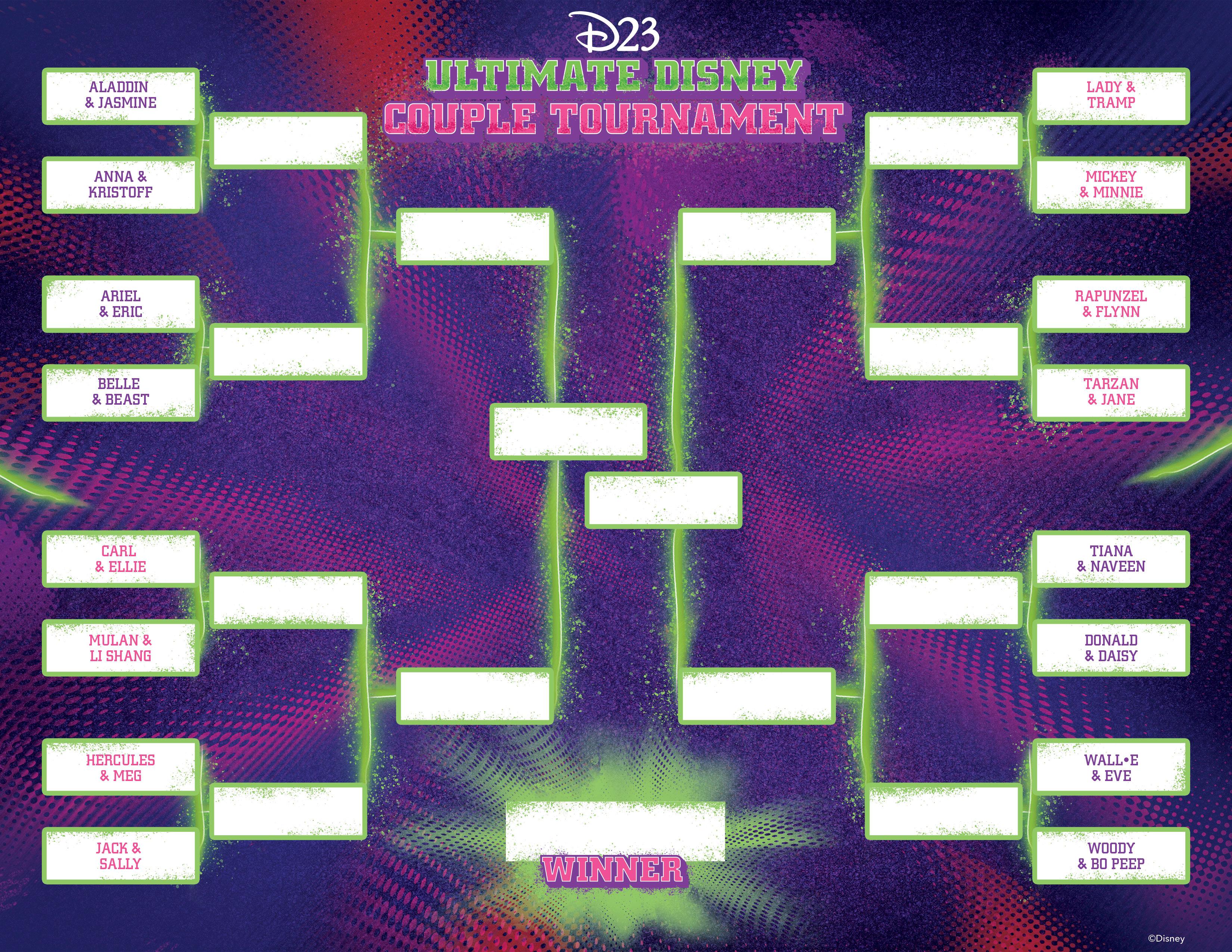 Ultimate Disney Couples Tournament bracket