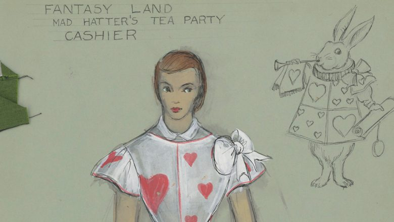 Fantasy Land Mad Hatter's Tea Party Cashier costume sketch by Renié Conley